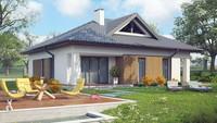 Проект небольшой классической усадьбы с четырёхскатной крышей