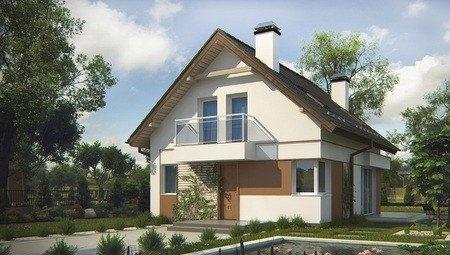 Проект негабаритного аккуратного дачного дома с двускатной крышей
