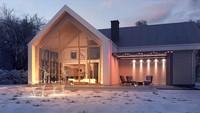 Проект небольшого двухэтажного коттеджа с панорамным окном в гостиной