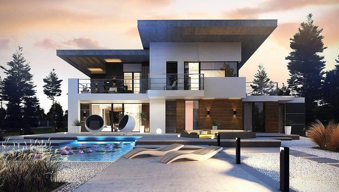 Проект современного двухэтажного коттеджа с террасой на втором этаже