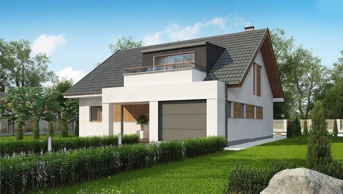 Классический проект дома с мансардой и с гаражом