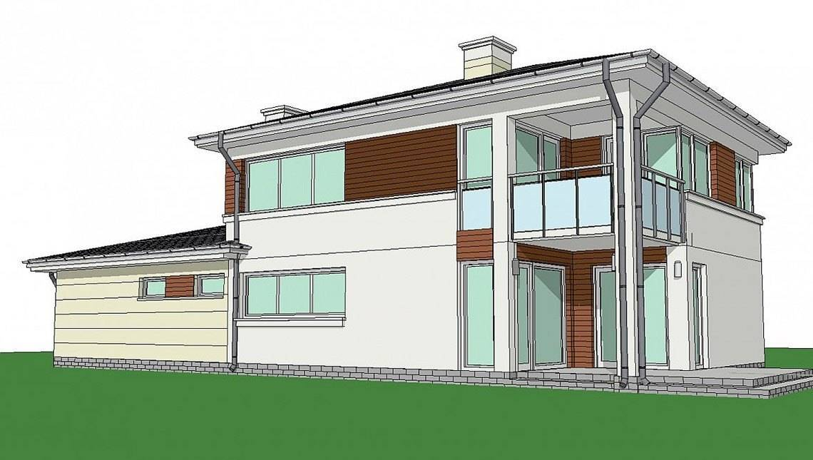 Проект современного двухэтажного коттеджа с гаражом в пристройке
