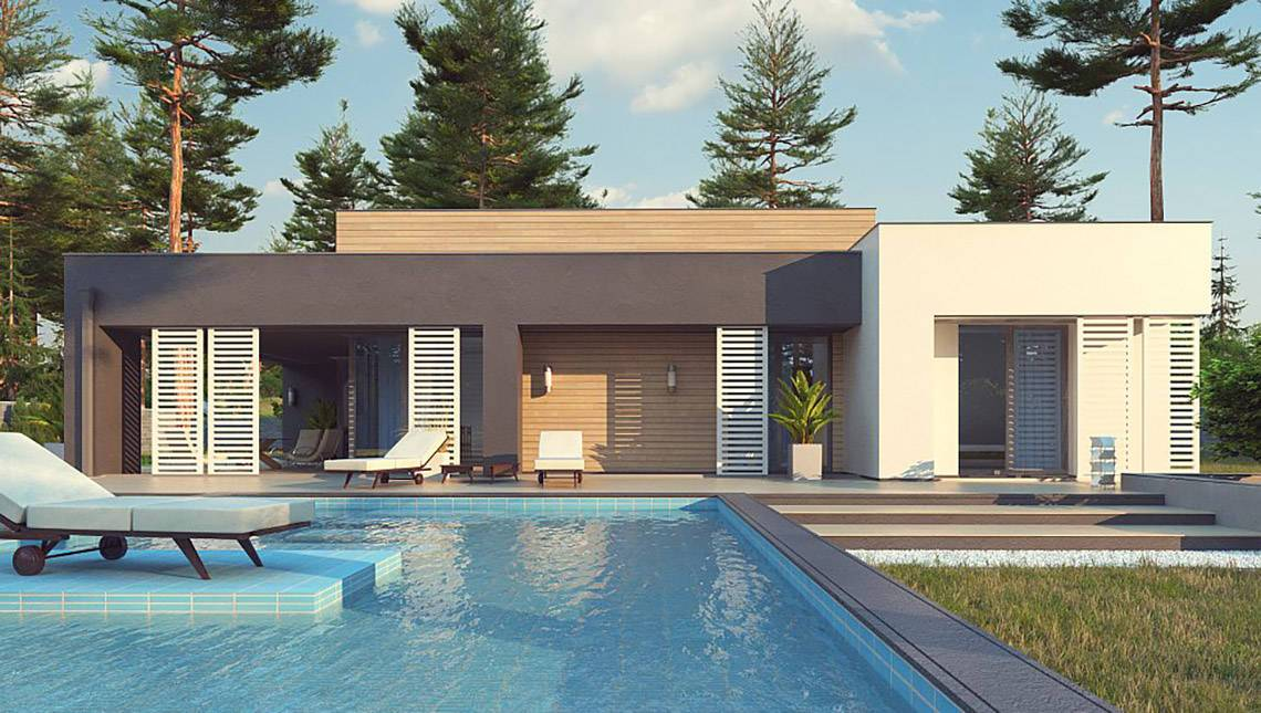Одноэтажный модерновый проект для узкого участка