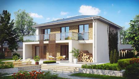 Проект дома с огромной террасой и гаражом на 1 авто