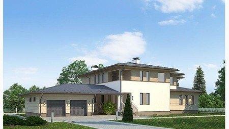 Проект роскошного двухэтажного коттеджа в стиле ранчо
