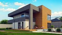 Проект современного двухэтажного дома с плоской кровлей с гаражом на две машины