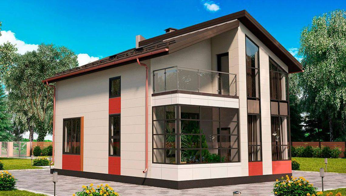 Компактный дом с большими окнами