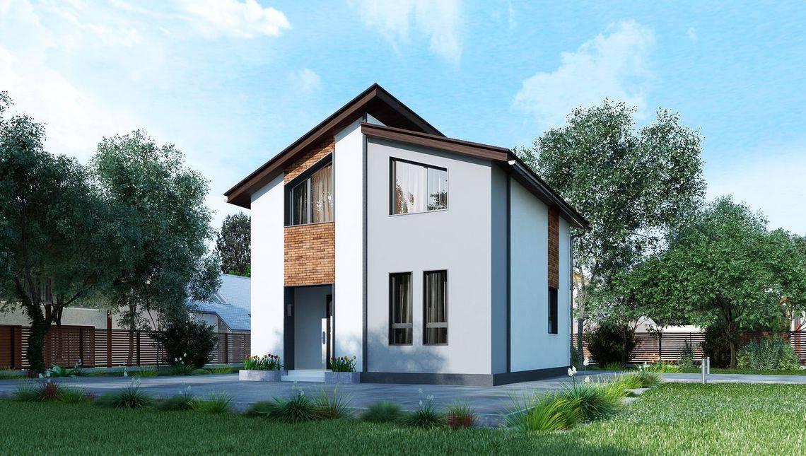 Небольшой двухэтажный коттедж площадью до 80 m²