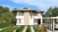 План двухэтажного стильного особняка с тремя санузлами
