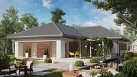 Проект 1 этажного дома с большой просторной террасой