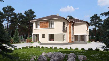 План двухэтажного коттеджа, рассчитанного на три квартиры