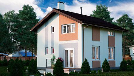 Современный двухэтажный дом с кухней-студией