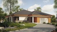 Проект одноэтажного дома с эркером и оригинальной террасой