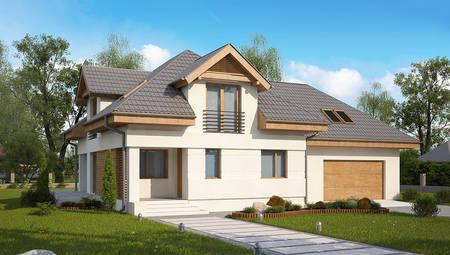 Проект просторного дома с мансардой для большой семьи