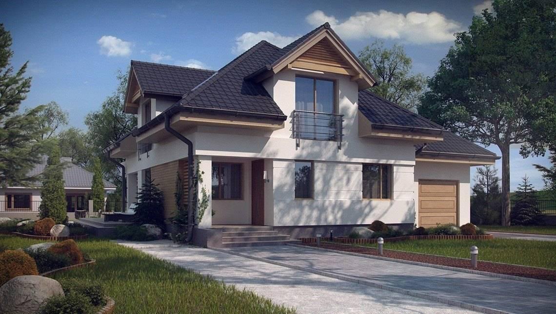 Проект красивого эксклюзивного дома с мансардой и гаражом