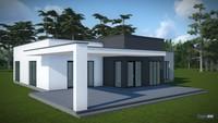 Проект современного дома с плоской крышей на один этаж