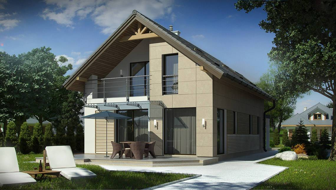 Проект дома для узкого участка с удобным гаражом и террасой над ним