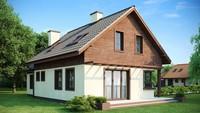 Проект дома с гаражом, красивой яркой мансардой и боковой террасой