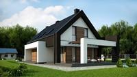 Стильный современный коттедж 210 m² для узкого участка