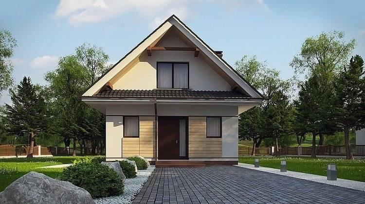 Проект компактного коттеджа с мансардой 80 m²