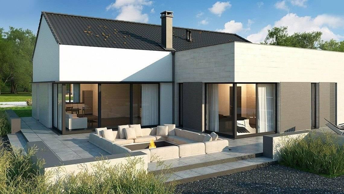 Проект одноэтажного коттеджа с большими панорамными окнами