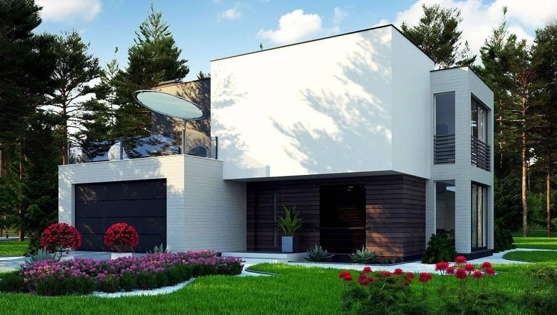 Проект небольшого современного двухэтажного коттеджа с террасой на втором этаже