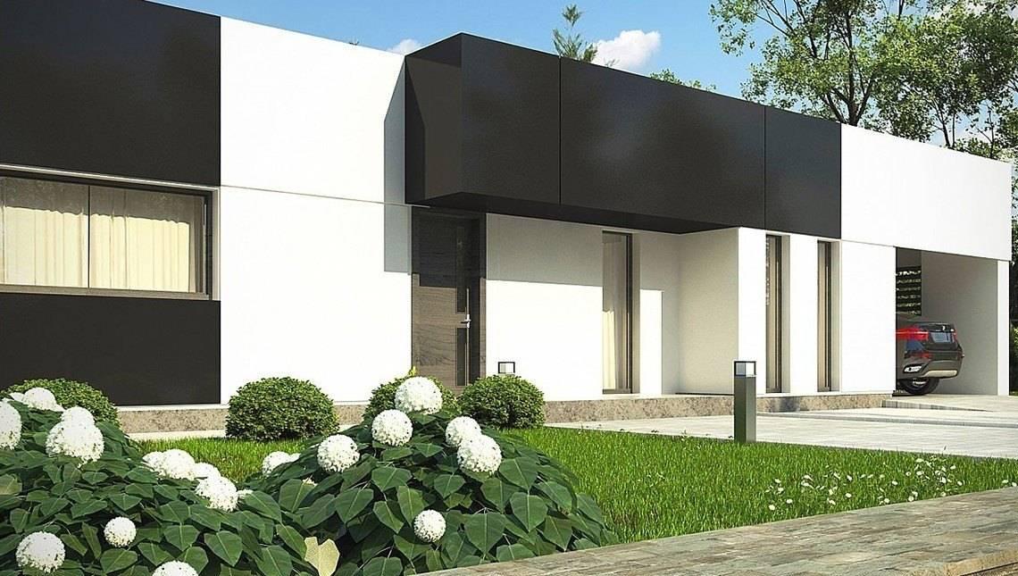 Одноэтажный проект с плоской крышей для узкого участка
