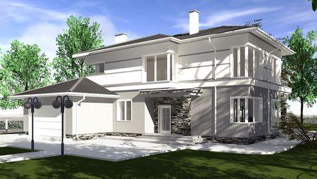 Светлая двухэтажная усадьба площадью 320 m²