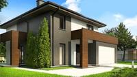 Проект двухэтажного дома с большими панорамными окнами и просторной террасой
