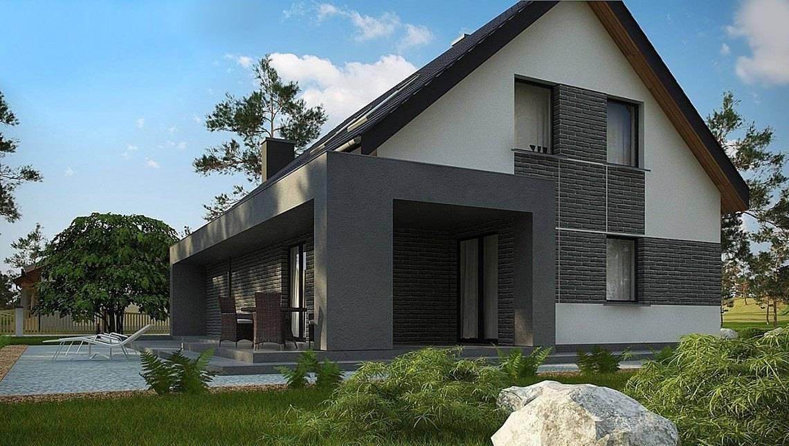Интересный проект коттеджа с большой террасой над гаражом