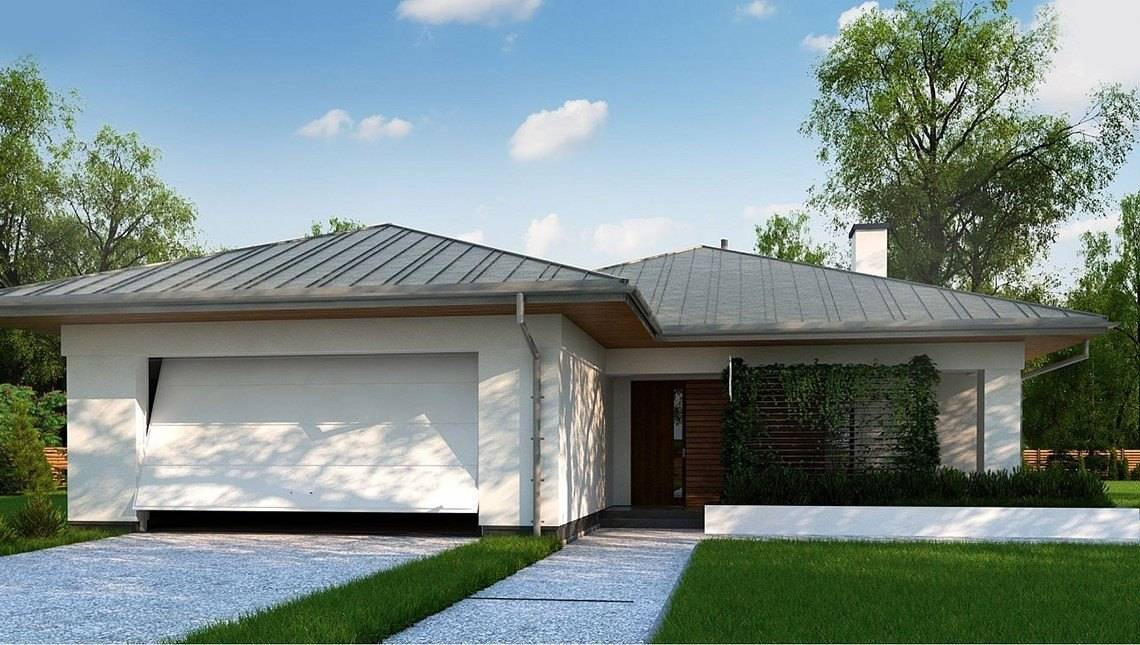 Проект одноэтажного дома с гаражом на две машины площадью до 150 m²
