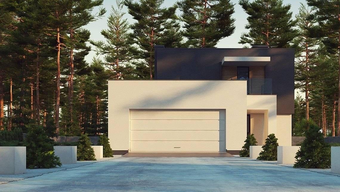 Проект современного компактного двухэтажного коттеджа площадью 150 m²