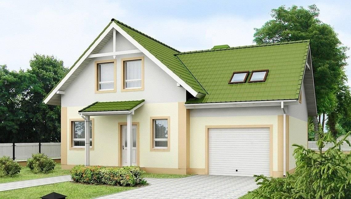 Проект одноэтажного дома с гаражом и зеленой кровлей