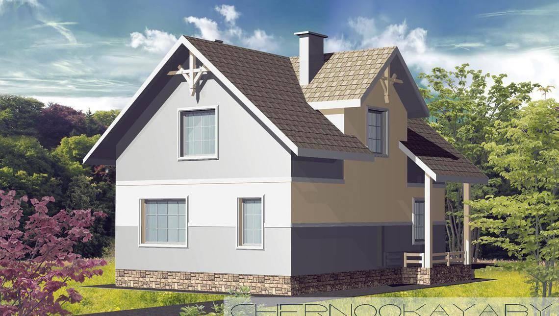 Интересный особняк на два этажа с двускатной крышей