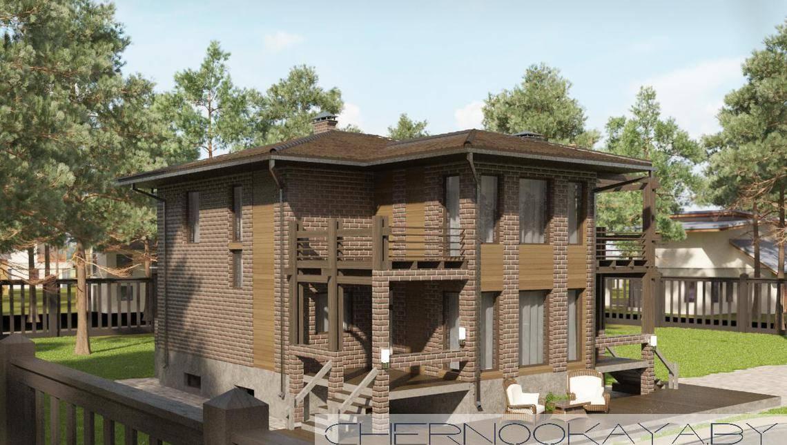 Двухэтажный коттедж с кухней-гостиной