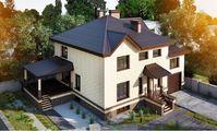 План великолепного двухэтажного дома с цокольным этажом
