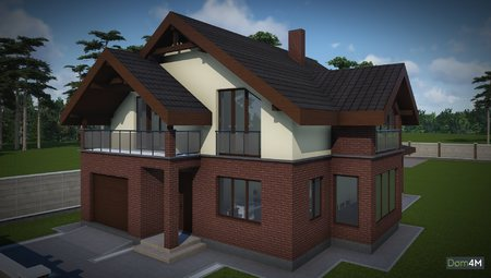Архитектурный проект кирпичного дома с мансардой