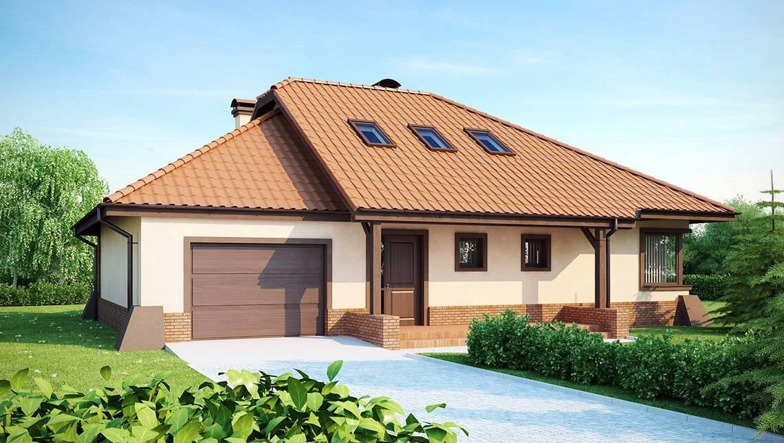 Проект дома с гаражом, террасой и фигурной крышей
