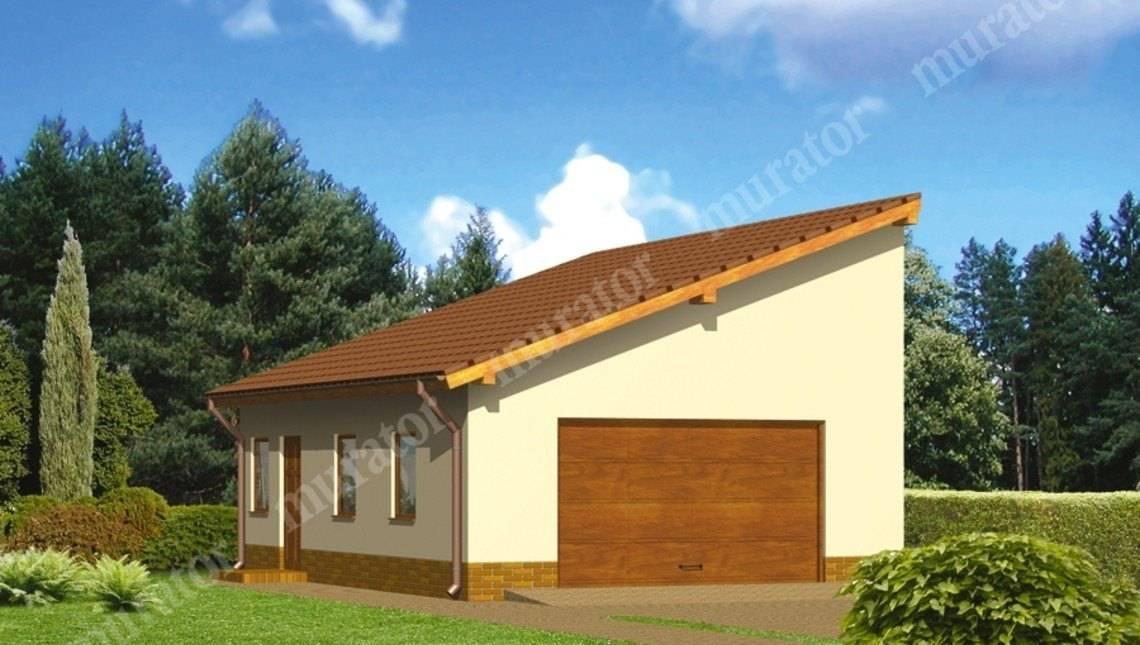 Большой гараж под односкатной крышей