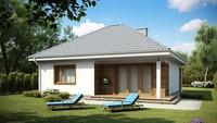 Одноэтажный дом с крытой террасой