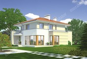 Двухэтажный дом с балконами