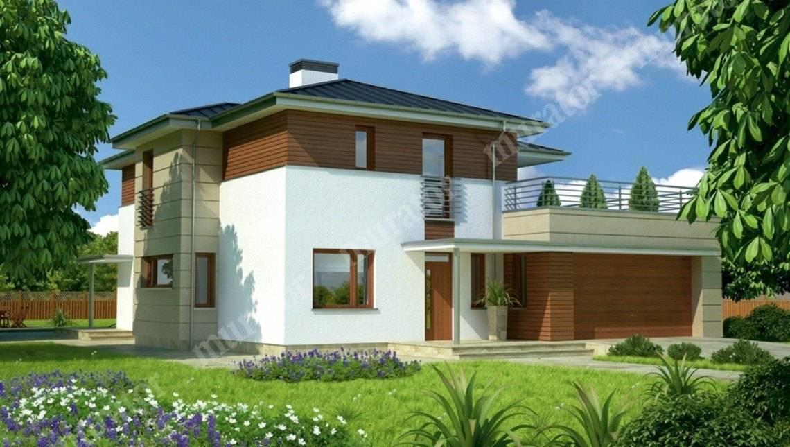 Современный дом с террасой на втором этаже
