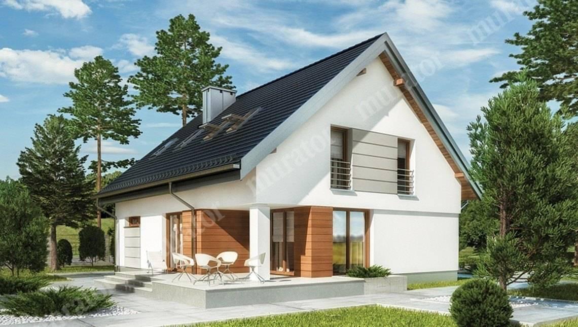 Двухэтажный дом с интересным декором стен