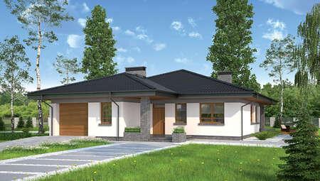 Стильный одноэтажный дом