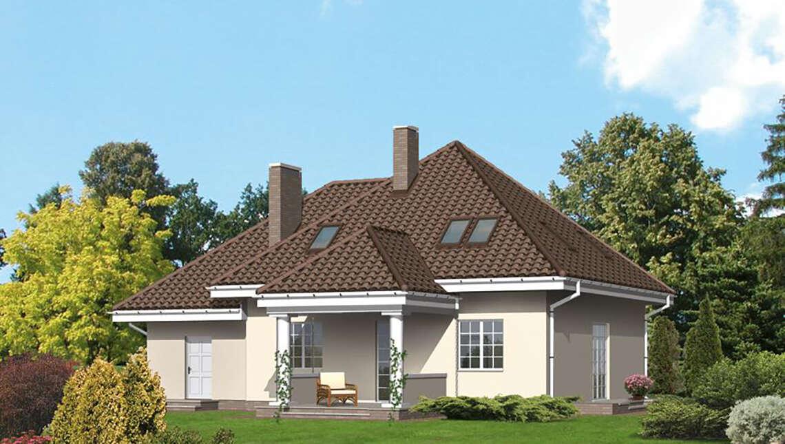 Проект двухэтажного дома в классическом стиле с колоннами