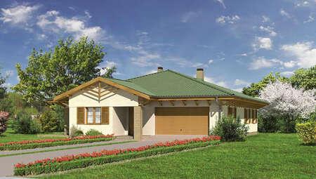 Проект одноэтажного коттеджа с деревянными архитектурными элементами