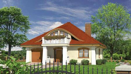 Интересный дом с полукруглыми окнами