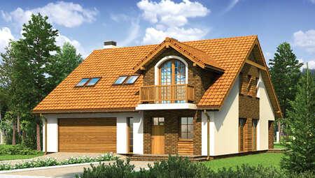 Интересный дом с декором насыщенного цвета