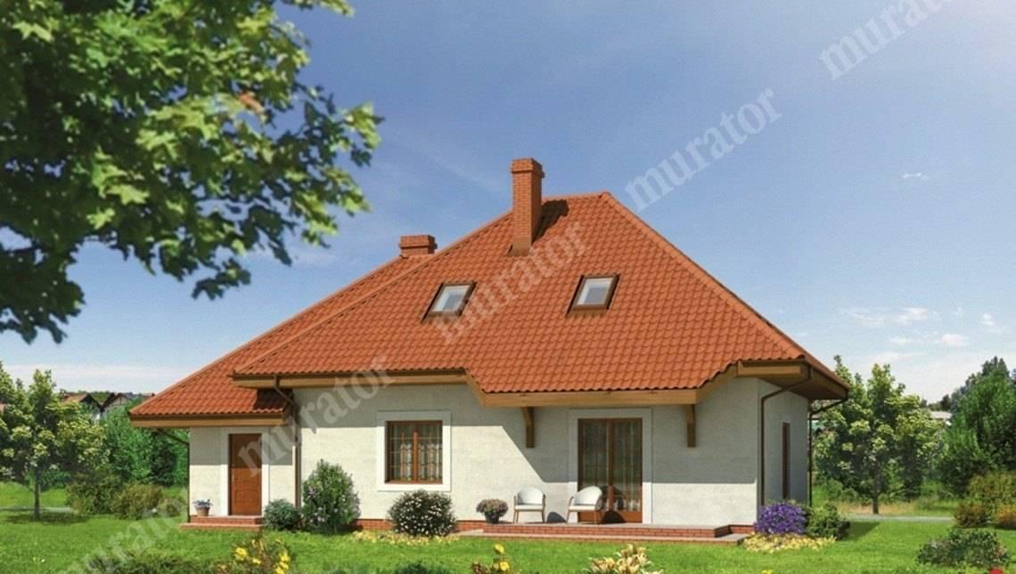 Двухэтажный дом под крышей сложной формы