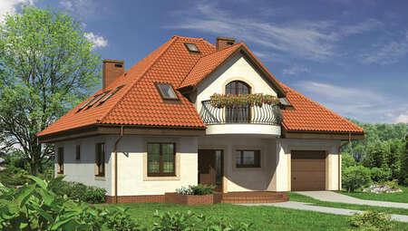 Проект двухэтажного дома с полукруглыми балконами